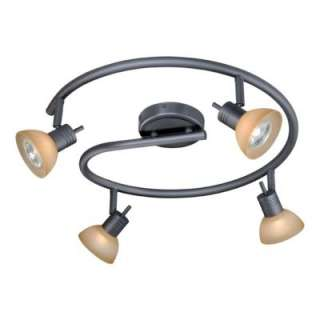 NEW 4 Light Track Spot Lighting Fixture, Dark Bronze, Brushed Cognac