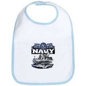 Baby Bib Sky Blue United States Navy Aircraft Carrier and