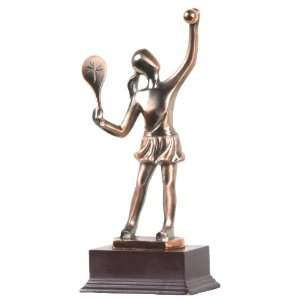 Small Abstract Female Tennis Player Statue   Copper Finish