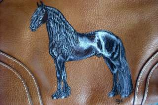 Friesian Horse Handpainted on Purse / Handbag