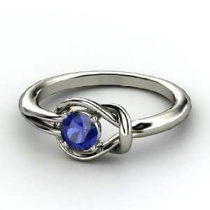 Hercules Knot Ring, Round Sapphire Palladium Ring Jewelry