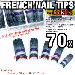 70 pcs Acrylic French False Nail Tips 18 Glitter Design