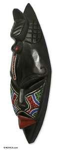 DZONU WARRIOR~African Hand Carved Beaded Wood Mask