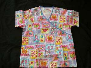 QUILT OF HOPE Print Medical Scrub Top S   2XL *NEW