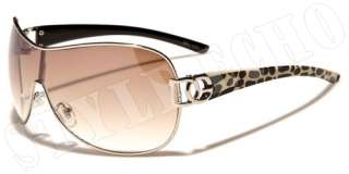 and Leopard Animal Print Sleek Metal Shield Womens Fashion Sunglasses
