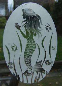 New 15X23 MERMAID Etched Glass Window Decal Vinyl Cling