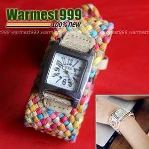 Ladys Girl Braided Band Strap Quartz Wrist Watch Wristwatch TB46