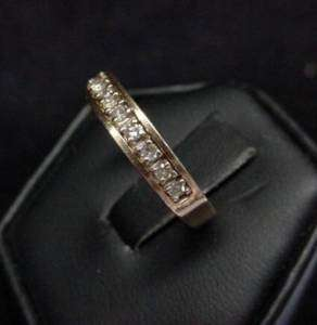 Estate 14k Yellow Gold Channel Set Diamond Ring Band