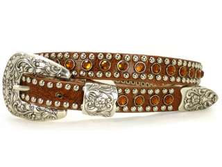 Skinny Rhinestone Punched in Studded Genuine Leather Belt