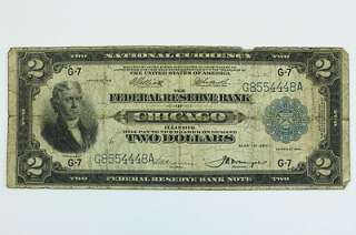 1918 Two Dollar $2 Federal Reserve Bank of Chicago Battleship Note