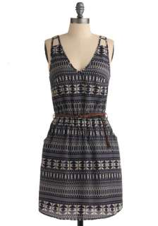Patterns of Action Dress   Blue, Brown, White, Stripes, Print, Braided