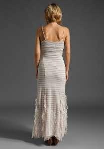 NWT New Free People Stripey Slub Slip Ivory Combo Lace Maxi Long Dress