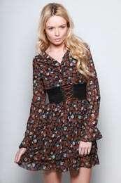 Evening Dresses   Amelia Vintage Print Chiffon Dress