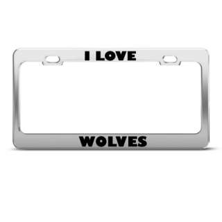 LOVE WOLVES ANIMAL LICENSE PLATE FRAME