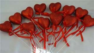 Lot Of 12 Adorable Glittery Red Hearts On Stem