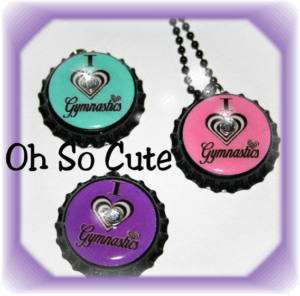 OhSoCute TEAM Colors Gymnastic Bottle Cap Necklace