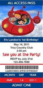 Little Einsteins Rocket Ticket Style Birthday Party Invitations with