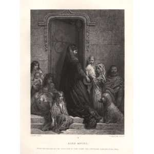 Plate Engraving of Alms Giving by Gustave Dore Kitchen & Dining