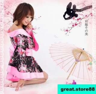 Sexy womens Japanese Sakura Kimono Dress Ribbon Waistband gstring 3pc