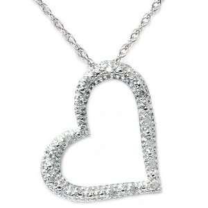 15CT Pave Diamond Heart Shape Pendant Necklace 10K White Gold Jewelry