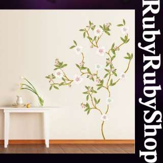 KR 0019 FLOWER TREE WALL PAPER ART DECO MURAL STICKER