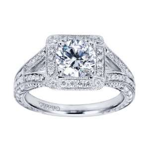14K White Gold Vintage Halo Engagement Ring   Does not Include The
