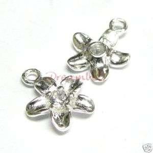 Sterling silver Daisy CZ Flower Dangle Charm Pendant