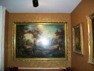 Italian Landscape 18th Century Signed Large Canvas Oil Painting