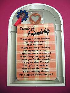 Threads Of Friendship Verse Card w/Heart Penny SKU# 852