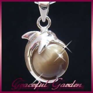PD3525 Kitsch Style Cat Eye Stone Cute Playing Dolphin Design Pendant