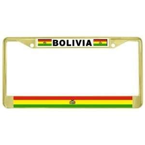 Bolivia Bolivian Flag Gold Tone Metal License Plate Frame Holder