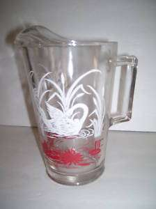 VINTAGE SWANKY SWIGS PITCHER Red White SWANS Retro LIP
