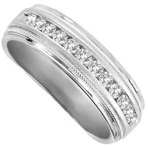 14K WHITE GOLD MENS DIAMOND WEDDING BAND RING 1/2 CT