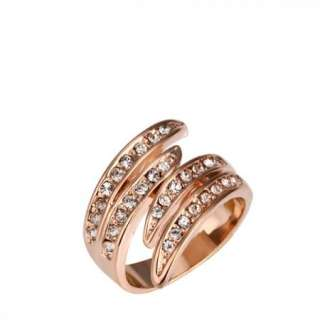 R32 18K rose Gold plated white gem Swarovski crystal Ring size 8
