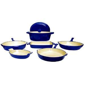Piece Enamel Blue Cast Iron Set  Kitchen & Dining