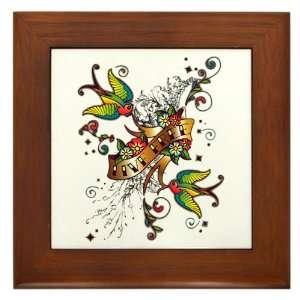 Framed Tile Live Free Birds   Peace Symbol Sign