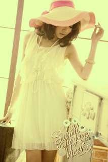 Womens Crew Neck Ruffle Chiffon Sleeveless Lining Dress
