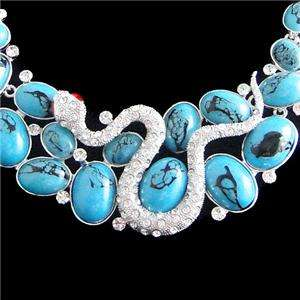 Snake Necklace Earring Set Clear Swarovski Crystal Blue Oval Turquoise