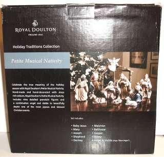 Royal Doulton Petite Musical Nativity Set 11 Piece Plays Silent Night