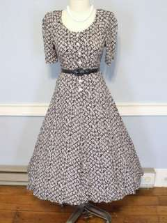 50s NAVY & WHITE FLORAL FULL SKIRT LUCY DRESS ROCKABILLY SWING PINUP M