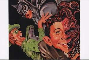 MAD BATMAN POSTER w RIDDLER & ALFRED E NEWMAN TWO FACE