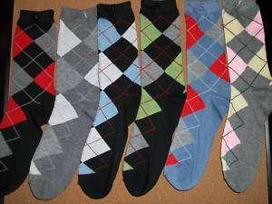 Pair Womens Argyle Crew Sock Size 9   11 NWT $1.10 ea 7019530405622