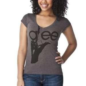 GLEE TV SHOW Womans Gray Grey Hand T Shirt Tee NWT
