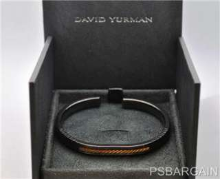 Authentic David Yurman Mens Black Titanium & 18k Gold Cuff Bracelet