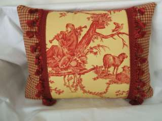 Pierre Deux Red Yell French Country Toile Pillow Fabric