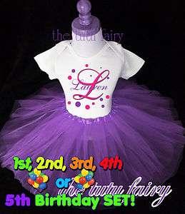 Purple Pink monogram name personalized baby toddler girl shirt & tutu