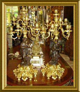 ANTIQUE LOUIS XVI GILT BRONZE 8 LIGHT CANDELABRAS PAIR