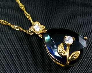 15x20mm New Pear Cut Blue Sapphire 18KGP Pendant Chain