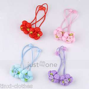2x Baby Infant Kids Girl Hair Decoration Rose Flower Elastic Head Rope