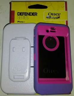 DEFENDER WHITE HOLSTER CLIP 4 ANY IPHONE 4 PURPLE ON HOT PINK CASE